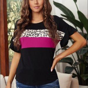 Black Leopard Color Block Short Sleeve Tee